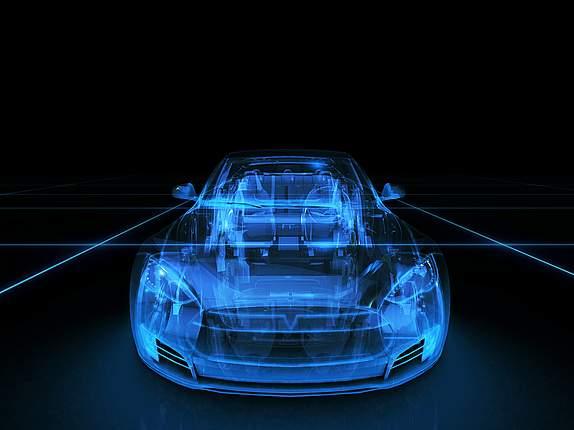 Umrisse von Auto in blauem Licht