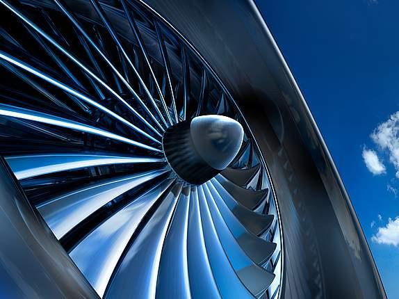 Flugzeugturbine in Detailaufnahme