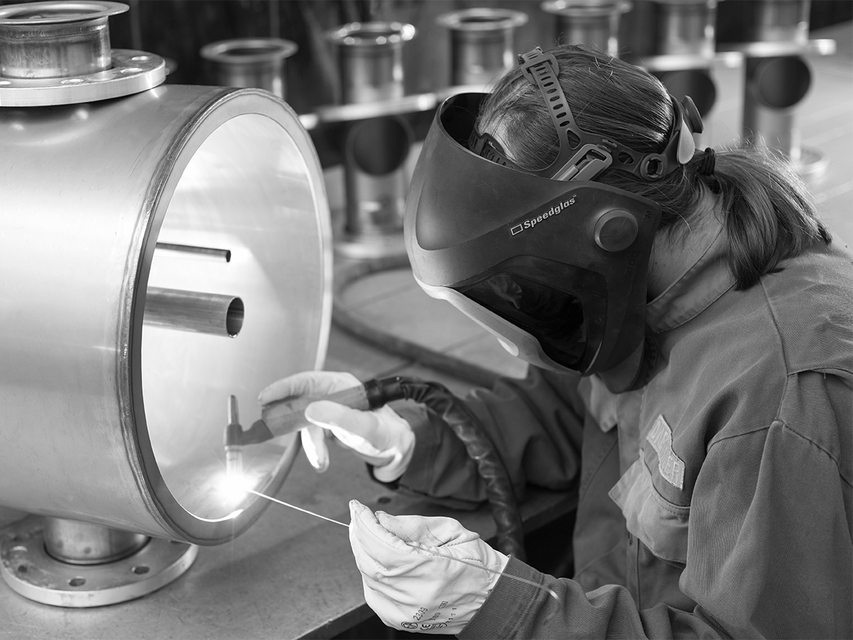 Daetwyler Industries employee during high-precision welding